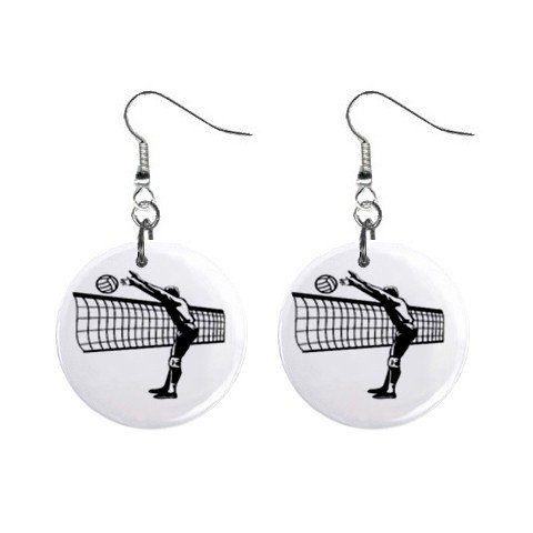 Volleyball Spiker  Dangle Button Earrings Jewelry 1 inch Round 12781947