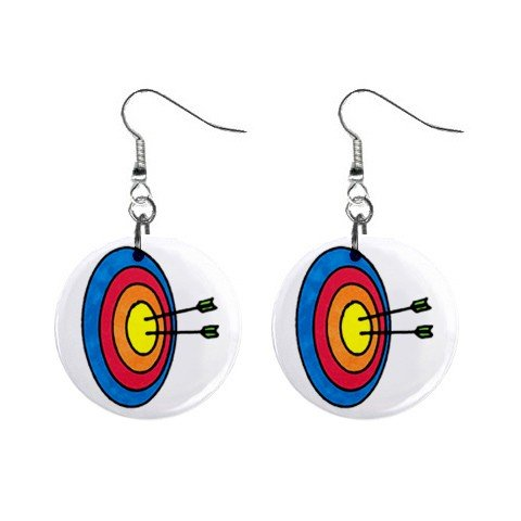 Archery Dangle Button Earrings Jewelry 1 inch Round 12779129