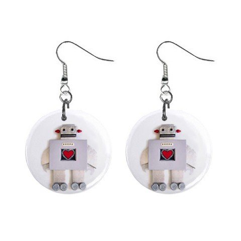 Robot Love #2 Dangle Button Earrings Jewelry 1 inch Round 12781853