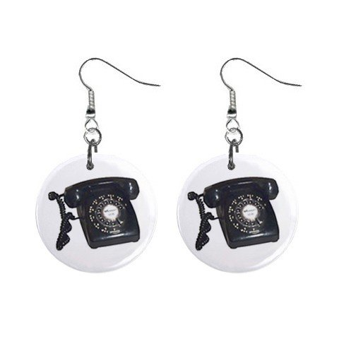 Old Fashion Telephone Phone #2 Dangle Button Earrings Jewelry 1 inch Round 12781841