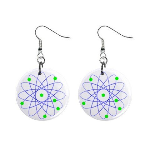 Atom  Dangle Button Earrings Jewelry 1 inch Round 12690982