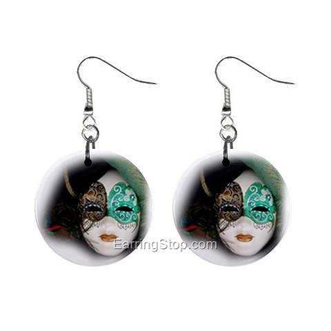 Mask Dangle Button Earrings Jewelry 1 inch Round 12734846
