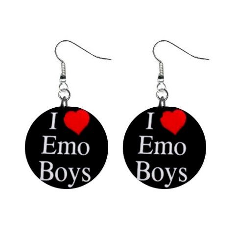 I Love Emo Boys  Dangle Button Earrings Jewelry 1 inch Round 12707870
