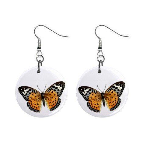 Golden Butterfly  Dangle Button Earrings Jewelry 1 inch Round 12691599