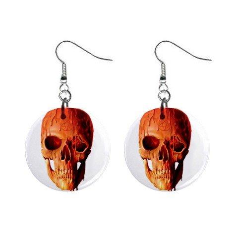 Wax Skull  Dangle Button Earrings Jewelry 1 inch Round 12894089