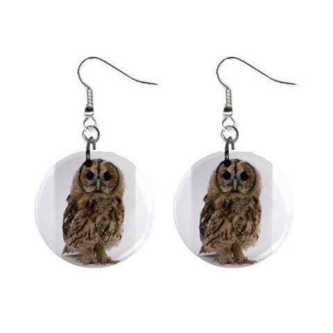 Baby Owl Dangle Button Earrings Jewelry 1 inch Round 12708913