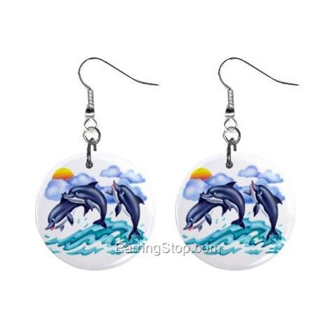 Three Dolphins Dangle Button Earrings Jewelry 1 inch Round 12734942
