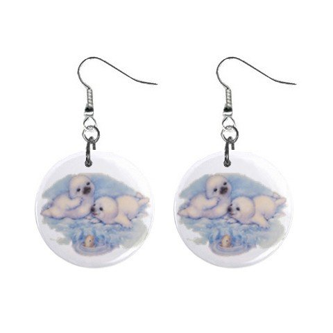 Cute Seals Dangle Button Earrings Jewelry 1 inch Round 12731221