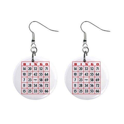 Bingo Card Dangle Button Earrings Jewelry 1 inch Round 12691392