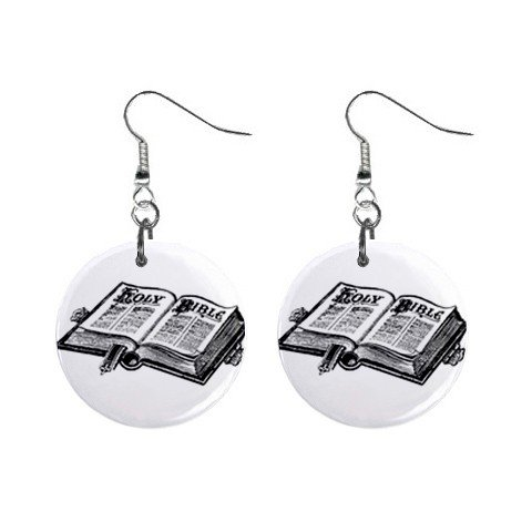 Religious Bible  Dangle Button Earrings Jewelry 1 inch Round 12781624