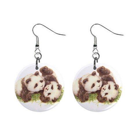 Cute Pandas Dangle Button Earrings Jewelry 1 inch Round 12731226