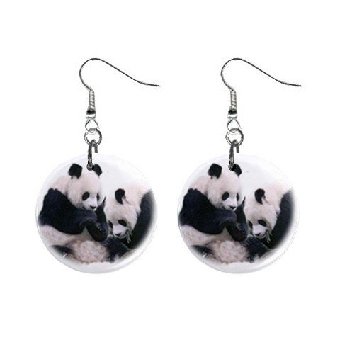 Panda Bears #3 Dangle Button Earrings Jewelry 1 inch Round 12709120