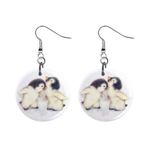 Cute Penquins Dangle Button Earrings Jewelry 1 inch Round 12731224