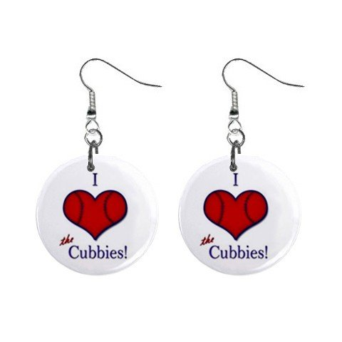 I Love the Cubbies BaseBall Chicago Cubs Dangle Button Earrings Jewelry 1 inch Round 12707663