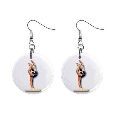 Gymnastics Gymnast #7 Dangle Button Earrings Jewelry 1 inch Round 12779173