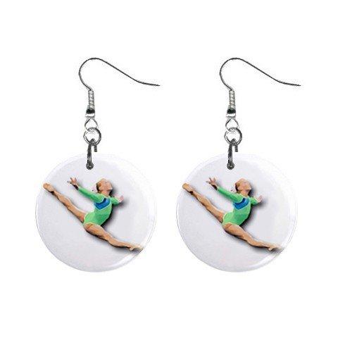 Gymnastics Gymnast #9 Dangle Button Earrings Jewelry 1 inch Round 12779175