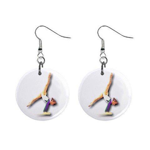 Gymnastics Gymnast #8 Dangle Button Earrings Jewelry 1 inch Round 12779174