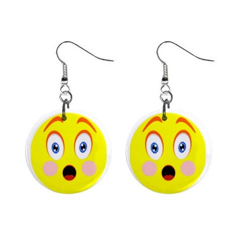 Shock Smiley Face Dangle Button Earrings Jewelry 1 inch Round 12781935