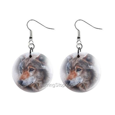 Wolf Dangle Button Earrings Jewelry 1 inch Round 12734943