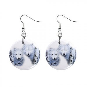 Wolves  Dangle Button Earrings Jewelry 1 inch Round 12894088