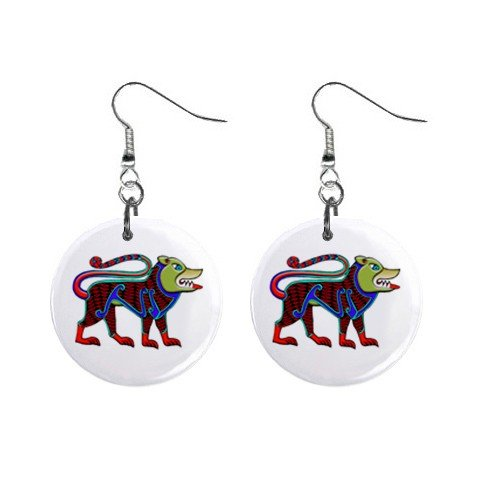 Celtic Dog Animal Dangle Button Earrings Jewelry 1 inch Round 12622220