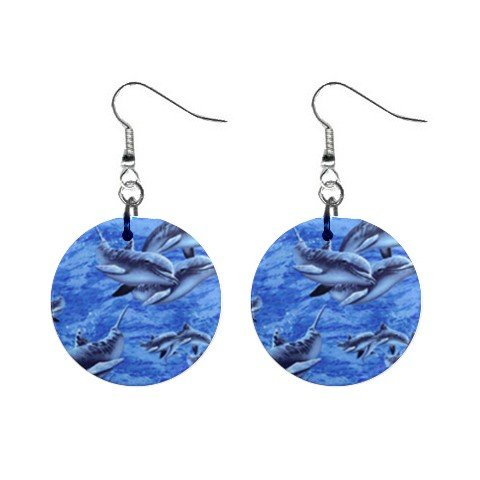 Dolphins #2 Dangle Earrings Jewelry 1 inch Buttons 12398780