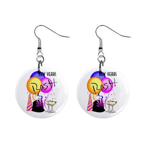 New Years Holiday Celebration Dangle Button Earrings Jewelry 1 inch Round 13065848