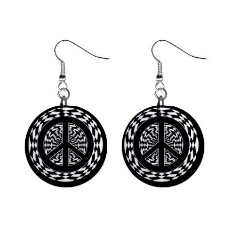 New Hypnotic Peace Sign Black White Dangle Button Earrings Jewelry 1 inch Round 13097404