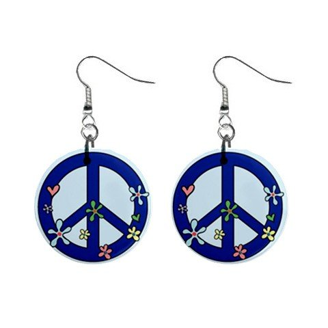 "New Blue Hippie Flower Peace Sign Symbol  1"" Round Button Dangle Earrings Jewelry 13097403"