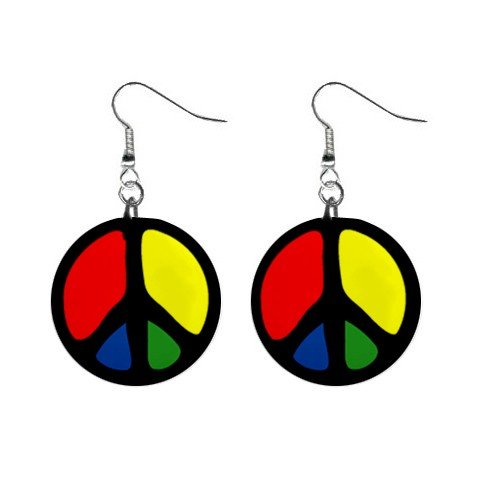 "New Primary Color Peace Sign Symbol #9 1"" Round Button Dangle Earrings Jewelry 13097402"
