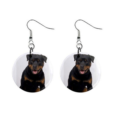 """New Dog Rottweiler 1"""" Round Button Dangle Earrings Jewelry 13126097"""