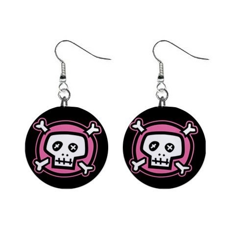 "New Pink Skull and Bones Goth 1"" Round Button Dangle Earrings Jewelry 13081447"