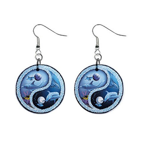 "New Ocean Life Dolphin 1"" Button Dangle Earrings Jewelry 13020155"
