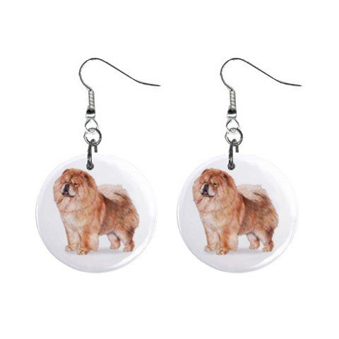 """New Dog Chow Chow 1"""" Round Button Dangle Earrings Jewelry 13018519"""