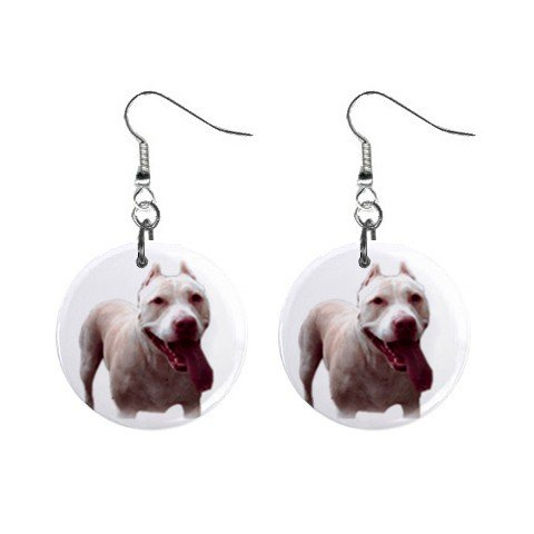 "New Dog  Pit Bull 1"" Round Button Dangle Earrings Jewelry 13019047"