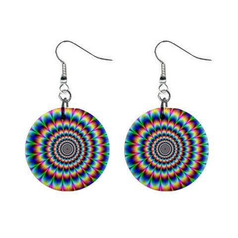 """New Hypnotic Colorful Dizzy Hippy Groovy Design 1"""" Round Button Dangle Earrings Jewelry 13100566"""
