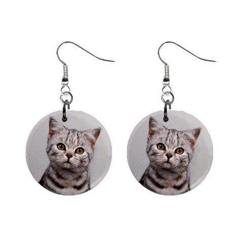 """New Tabby Cat Kitten 1"""" Round Button Dangle Earrings Jewelry 13081449"""