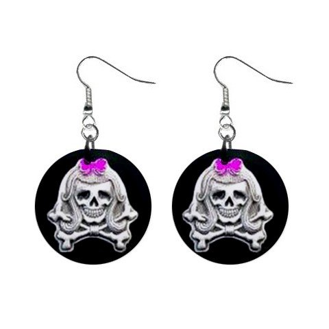 New Girl Skull Girly Goth Round Button Dangle Earrings Jewelry 13088040