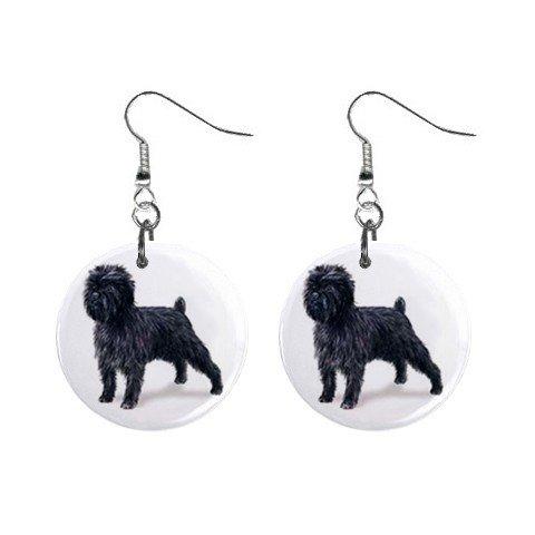 "New Dog Affenpinscher 1"" Round Button Dangle Earrings Jewelry 13018513"