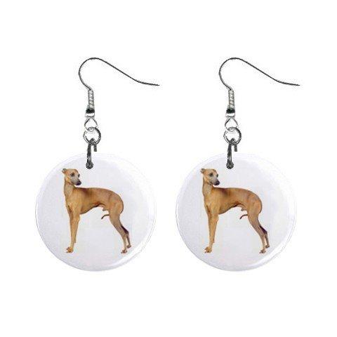 "New Dog Italian Greyhound 1"" Round Button Dangle Earrings Jewelry 13018526"