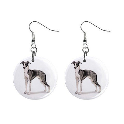 "New Dog Italian Greyhound #2 1"" Round Button Dangle Earrings Jewelry 13018527"