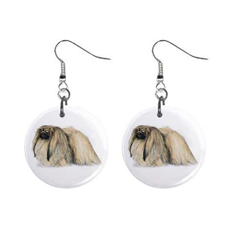 "New Dog Pekingese 1"" Round Button Dangle Earrings Jewelry 13018539"