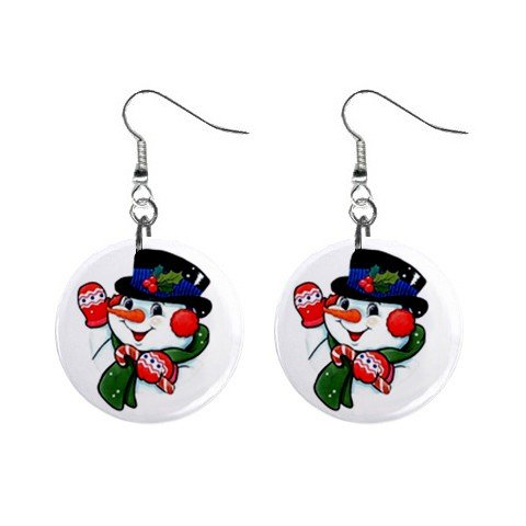 Christmas Snowman Dangle Earrings Jewelry 1 inch Buttons 13092977