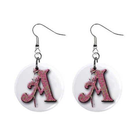 """Rose Design Monogram Initial 1"""" Round Button Dangle Earrings Jewelry"""