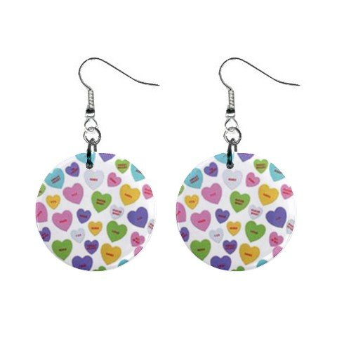 New Conversation Heart Valentine Dangle Button Earrings 13479478