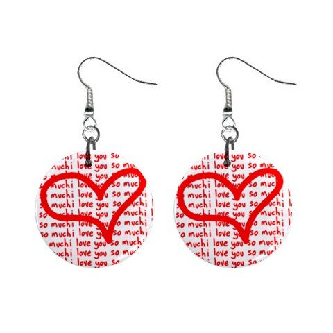 New I Love You Valentine Dangle Button Earrings Jewelry 13483316