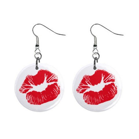"""New Red Kiss Lips Dangle 1"""" Button Round Earrings Jewelry 13483358"""