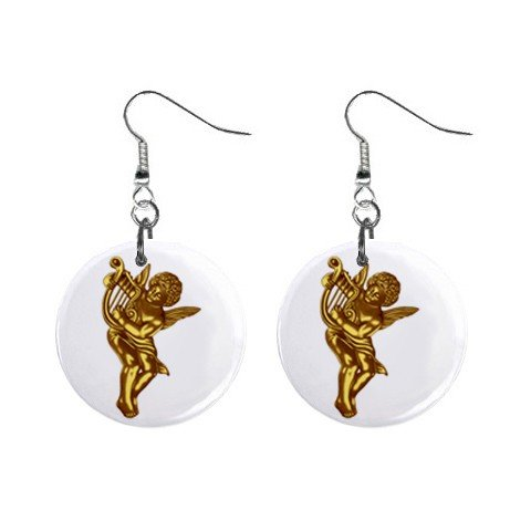 New Gold Cupid Valentine Dangle Button Earrings Jewelry 13483309