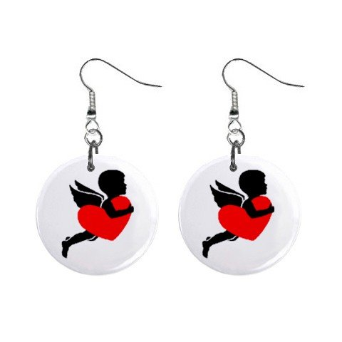 New Cupid with Heart Valentine Dangle Button Earrings Jewelry 13483308