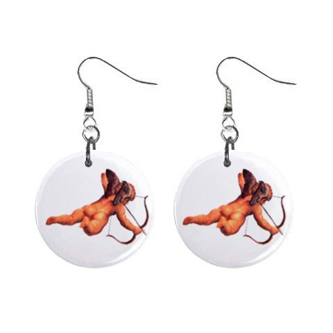 New Naked Cupid with Arrow Valentine Dangle Button Earrings Jewelry 13483307